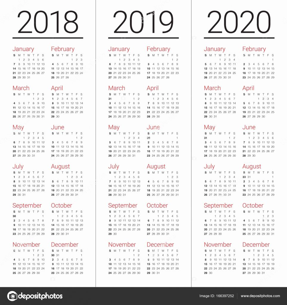 2 Year Calendar 2019 And 2020 With 3 2018 To Printable