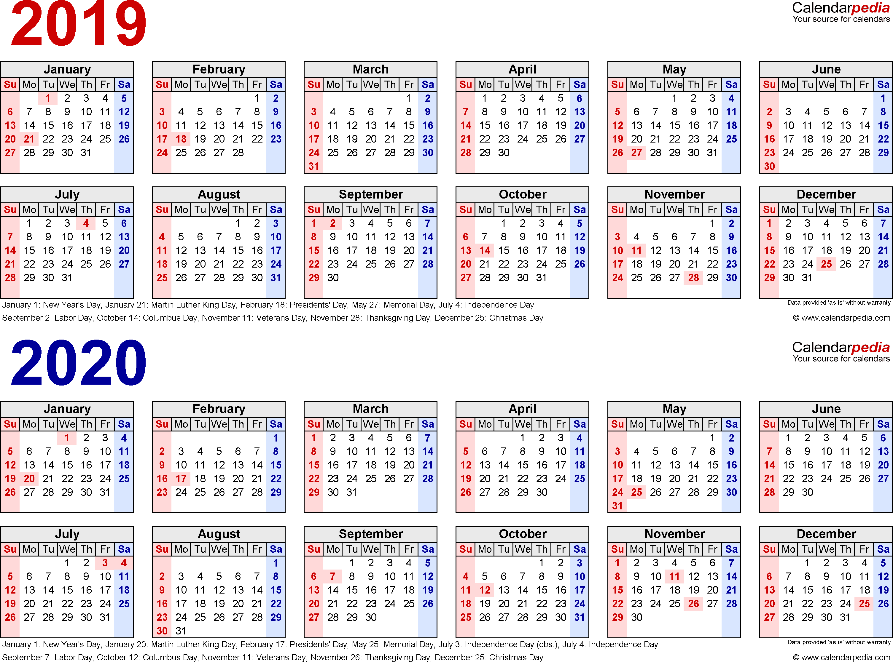 2 Year Calendar 2019 And 2020 With Free Printable Two PDF Calendars