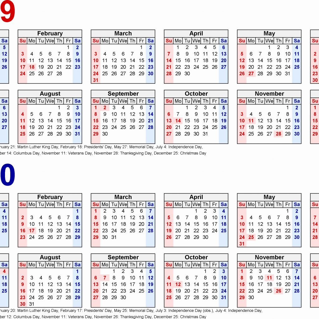 2 Year Calendar 2019 And 2020 With School Calendars From August To July