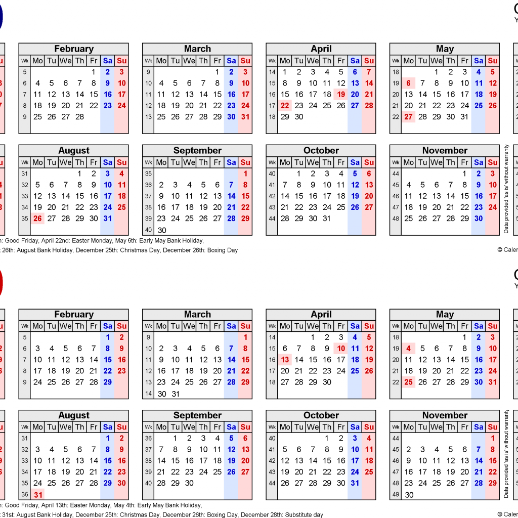2 Year Calendar 2019 And 2020 With Two Calendars For UK Excel