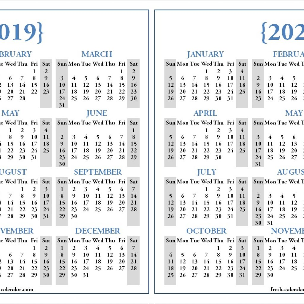2 Year Calendar 2019 And 2020 With Two Yearly Printable Blank Template