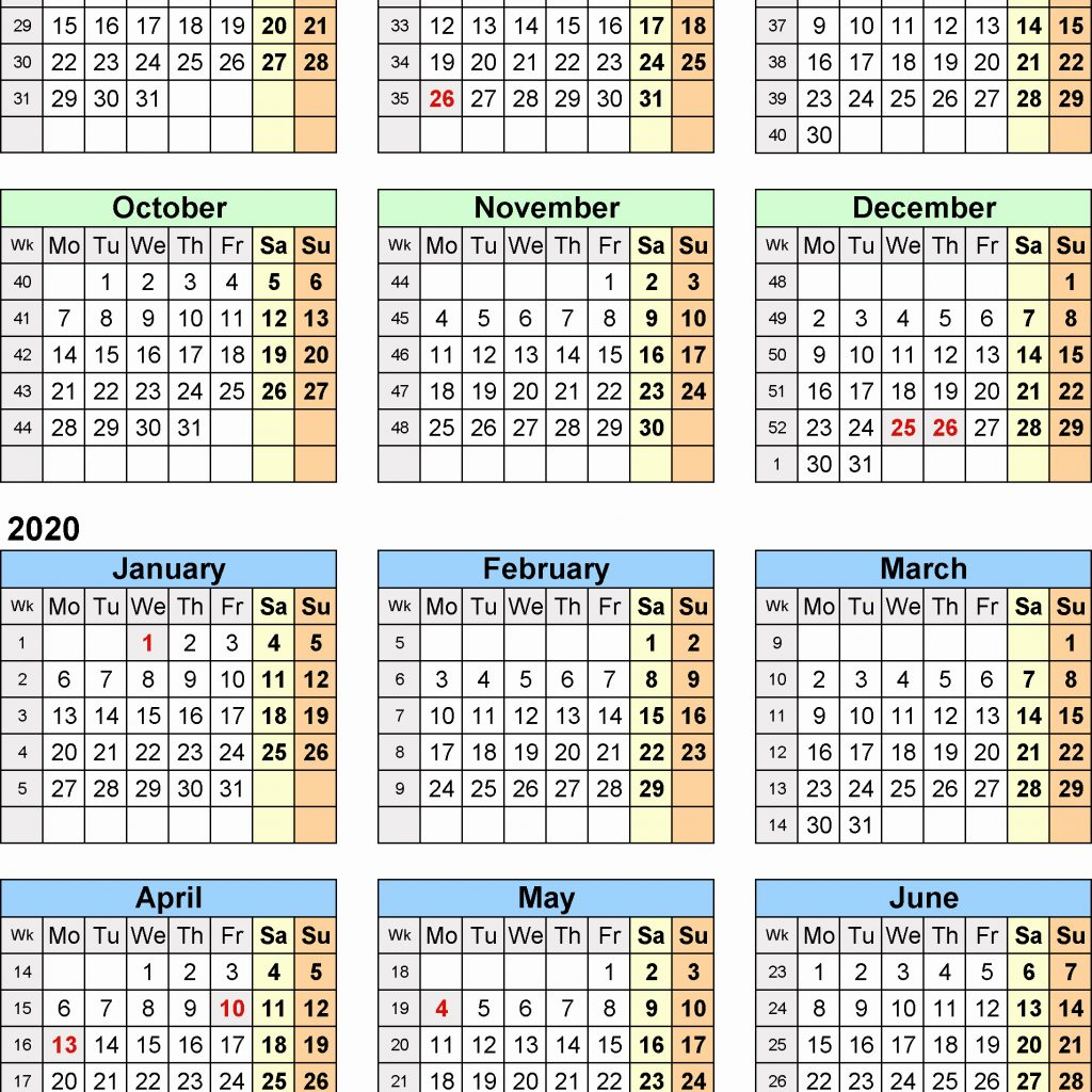 2 Year Calendar 2019 And 2020 With Yearly Split Calendars 20 July To June For
