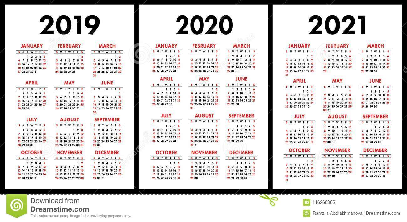 2 Year Pocket Calendar 2019 And 2020 With 2021 Set Basic Simple Template Wee