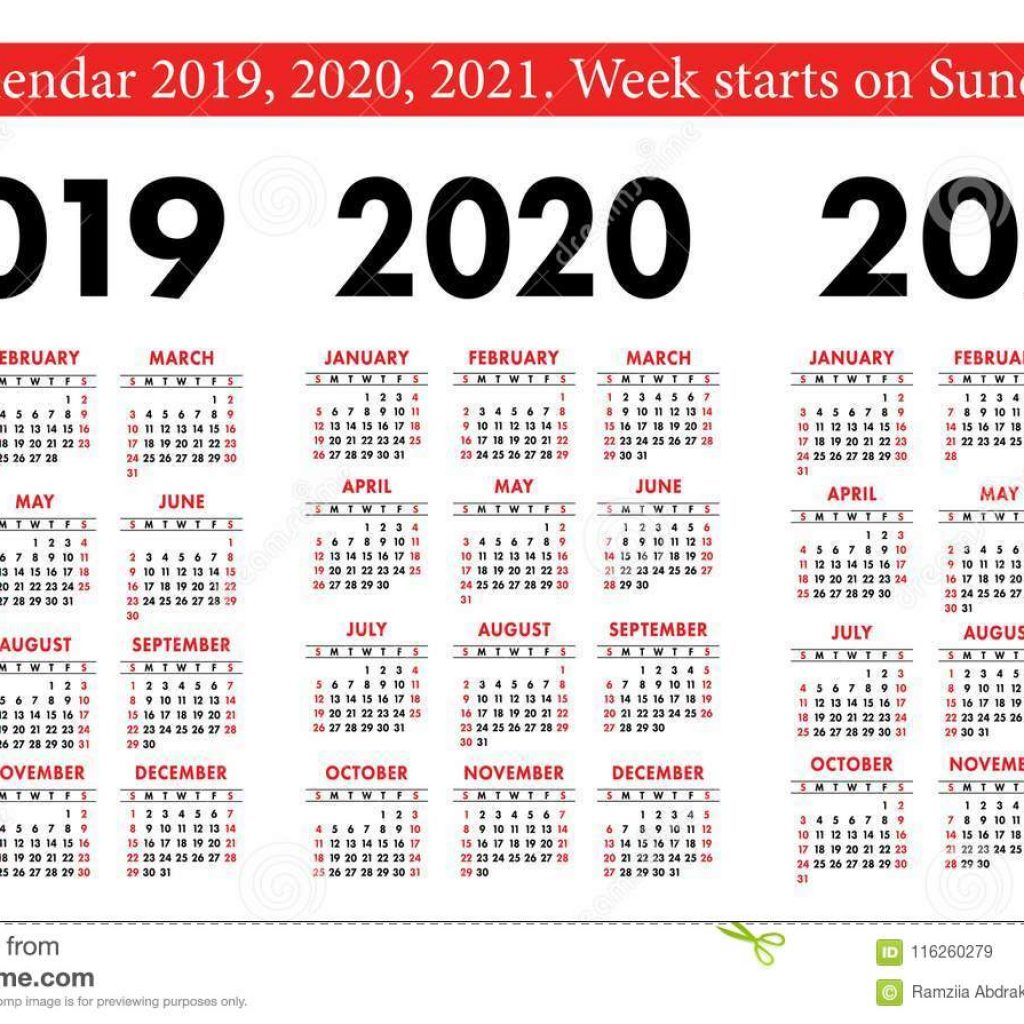 2 Year Pocket Calendar 2019 And 2020 With 2021 Set Basic Simple Template Week