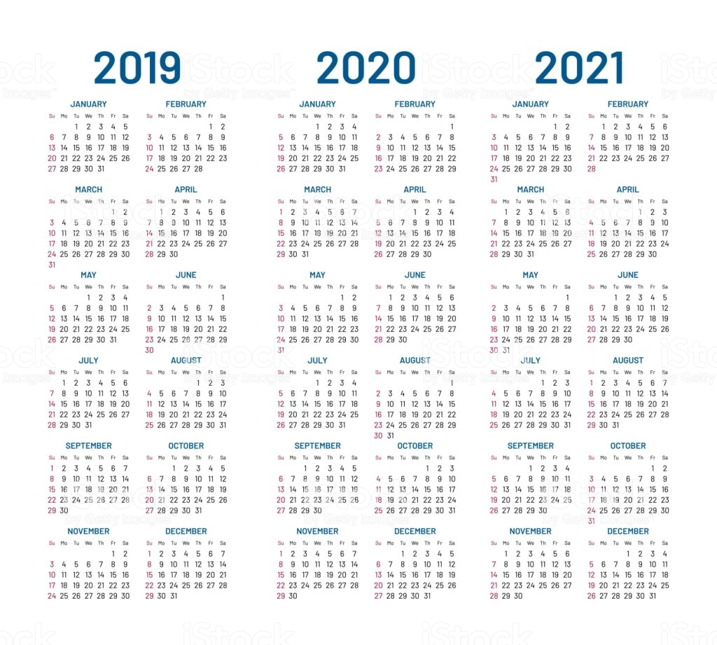 2 Year Pocket Calendar 2019 And 2020 With 2021 Vector Stock Art More Images