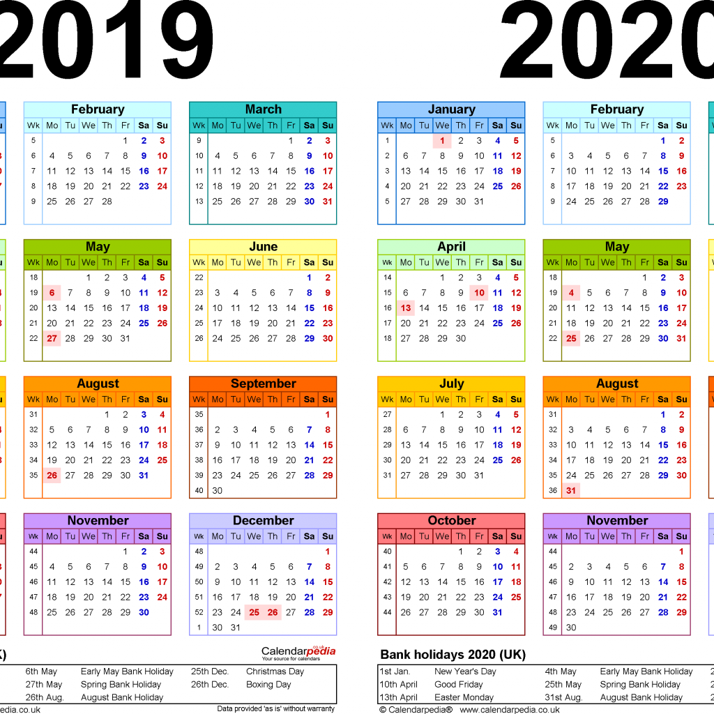 2 Year Pocket Calendar 2019 And 2020 With Two Calendars For UK PDF