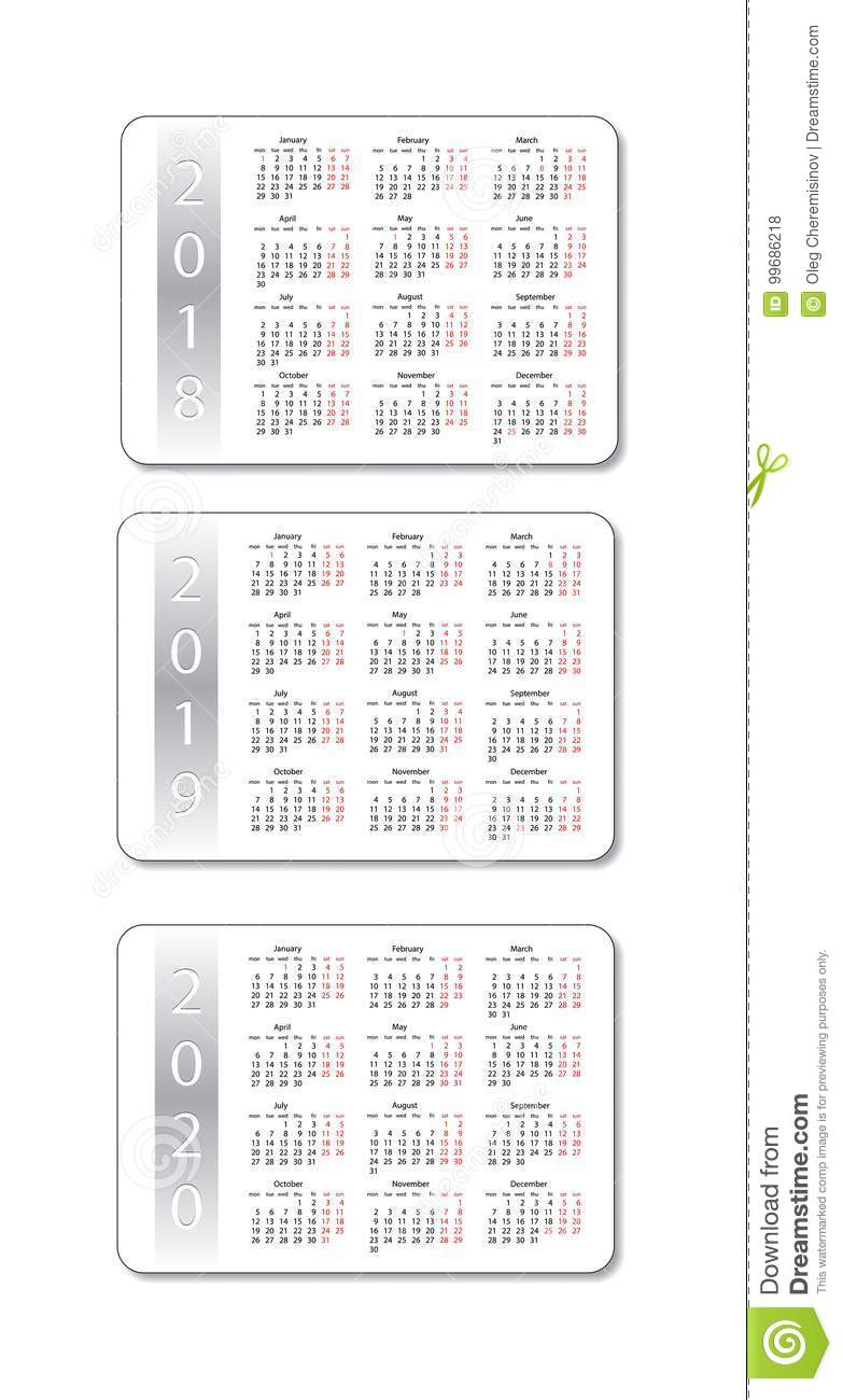 2 Year Pocket Calendar 2019 And 2020 With Vector Set 2018 Years White Design
