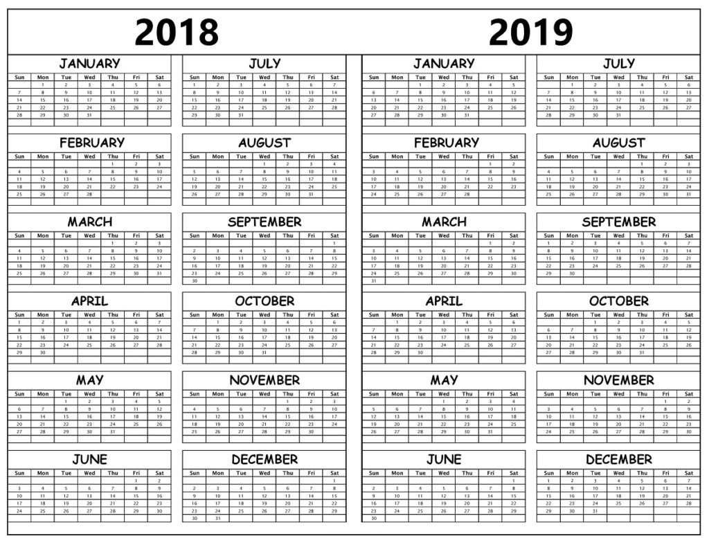 2018 And 2019 Year Calendar Printable With 3 Free Template February