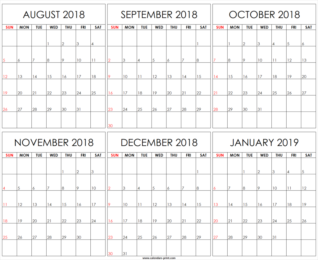 2018 And 2019 Year Calendar Printable With Six Monthly August To January Template Editable