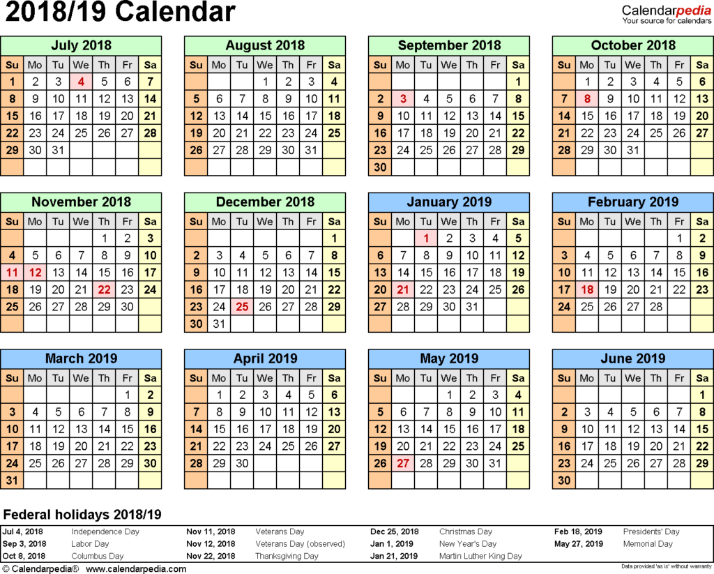 2018 And 2019 Year Calendar Printable With Split 19 July To June PDF Templates