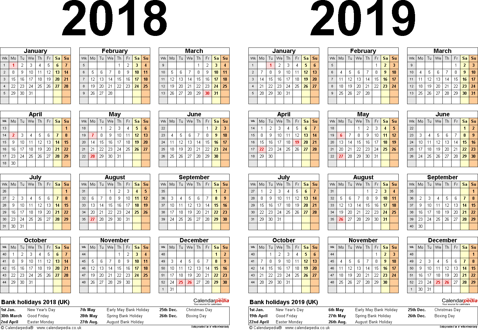 2018 And 2019 Year Calendar Printable With Two Calendars For UK Word