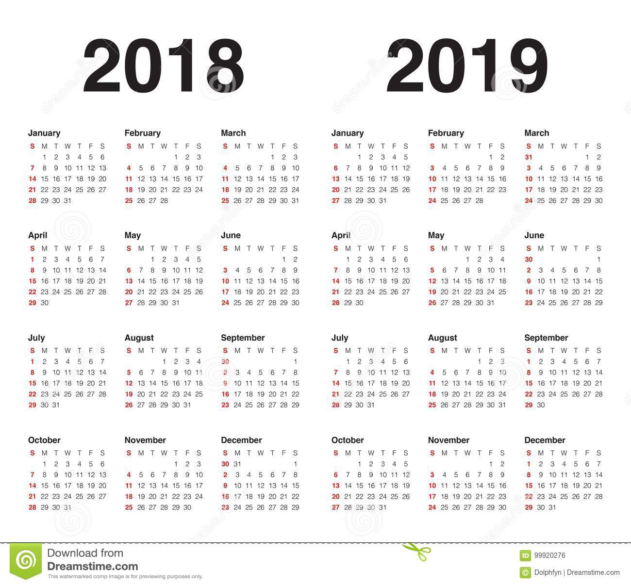 2018 And 2019 Year Calendar Printable With Vector Stock Illustration Of