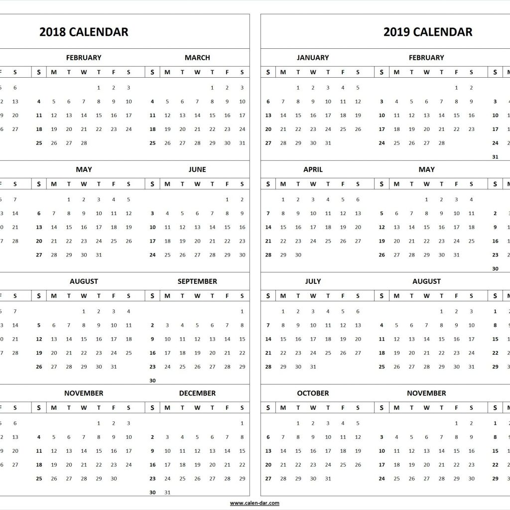 2018 And 2019 Year Calendar Printable With Yearly Pinterest