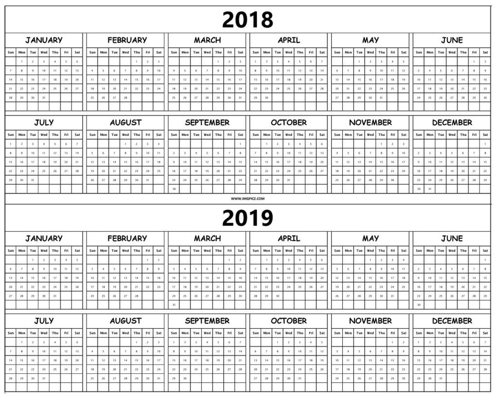2018 And 2019 Year Calendar Printable With Yearly Template