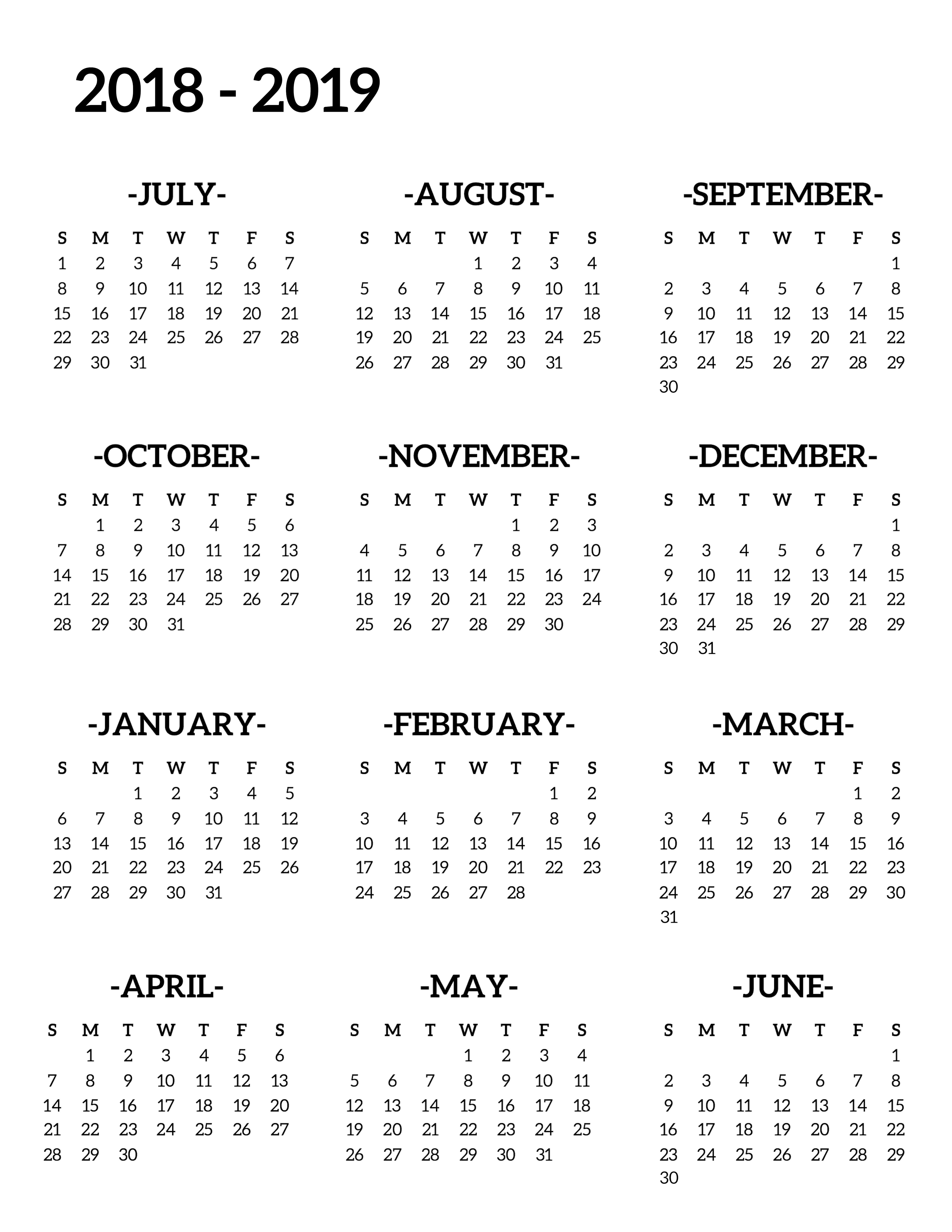 2019 Calendar By Year With 2018 School Printable Free Template Paper Trail Design