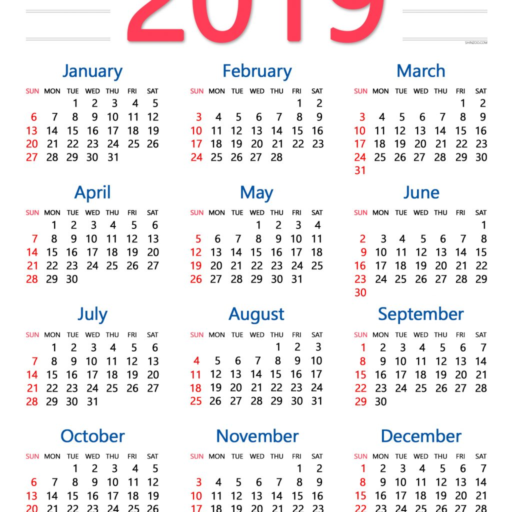 2019 Calendar By Year With Annual