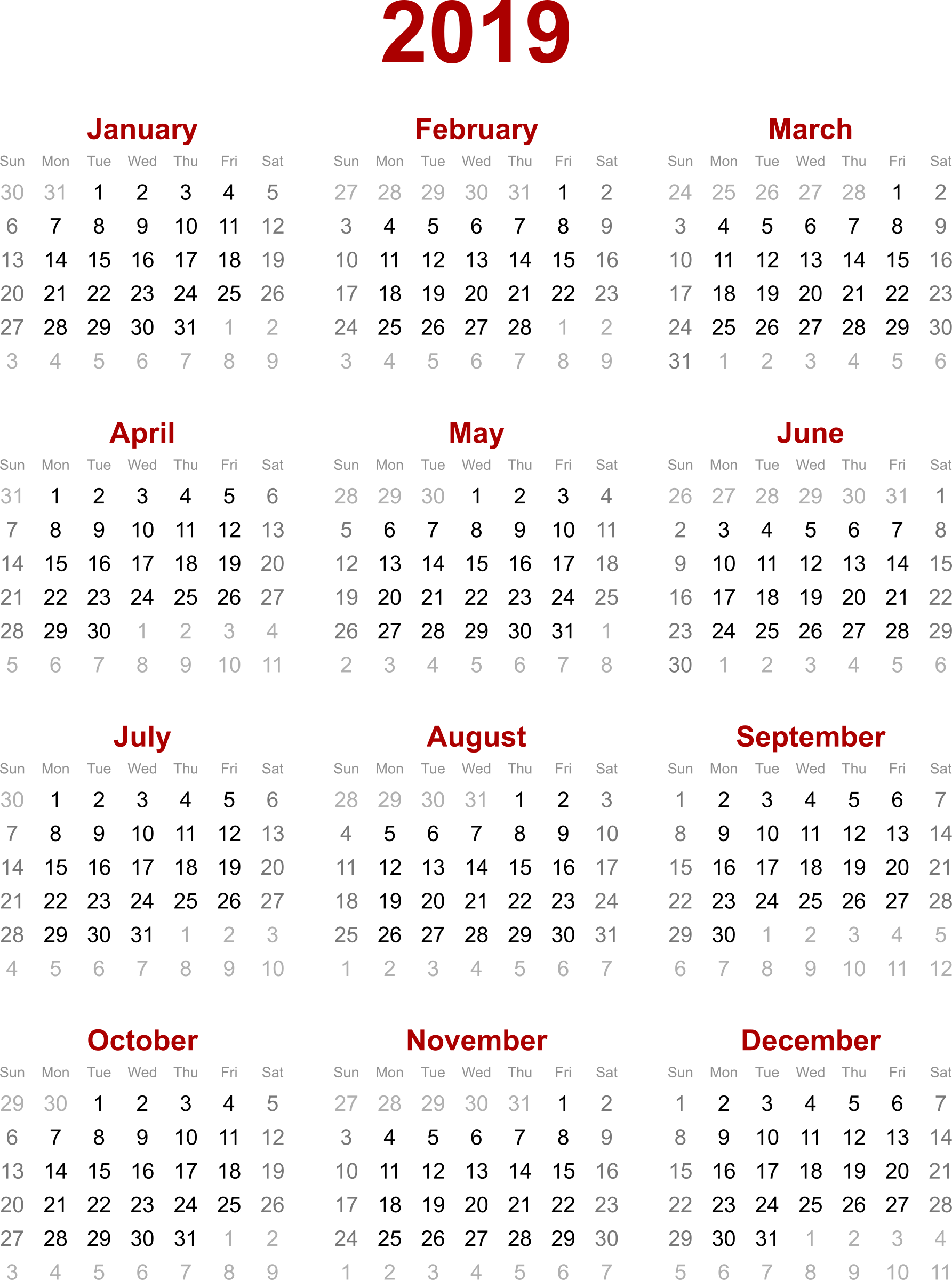 2019 Calendar By Year With Clipart