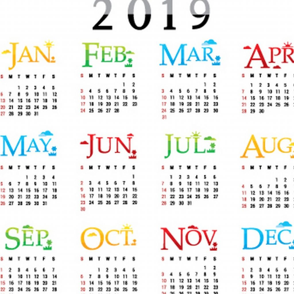 2019 Calendar By Year With Download Template Of One Page February