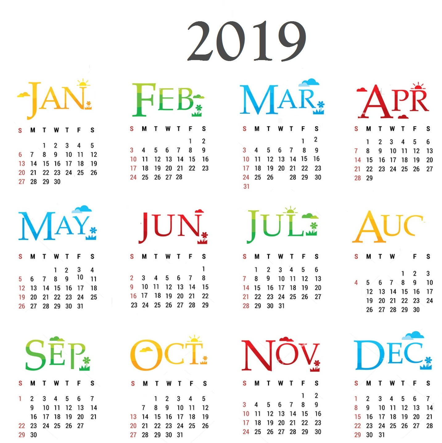 2019 Calendar By Year With New Pdf Free Printable 2018 Template Word