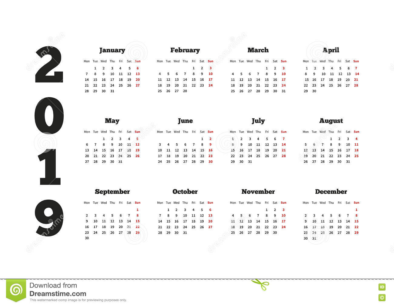 2019 Calendar By Year With On Week Starting From Monday A4 Sheet Stock