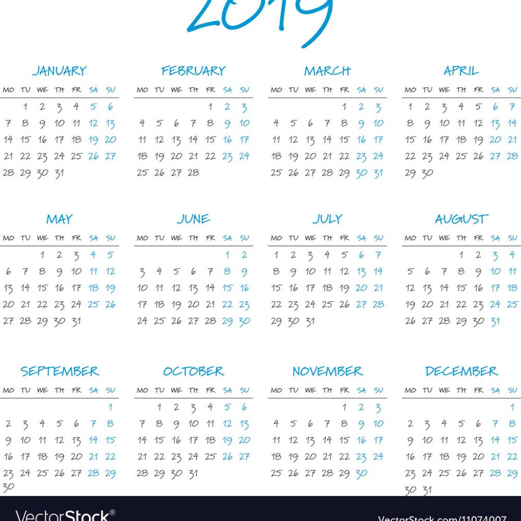 2019 Calendar By Year With Simple Royalty Free Vector Image