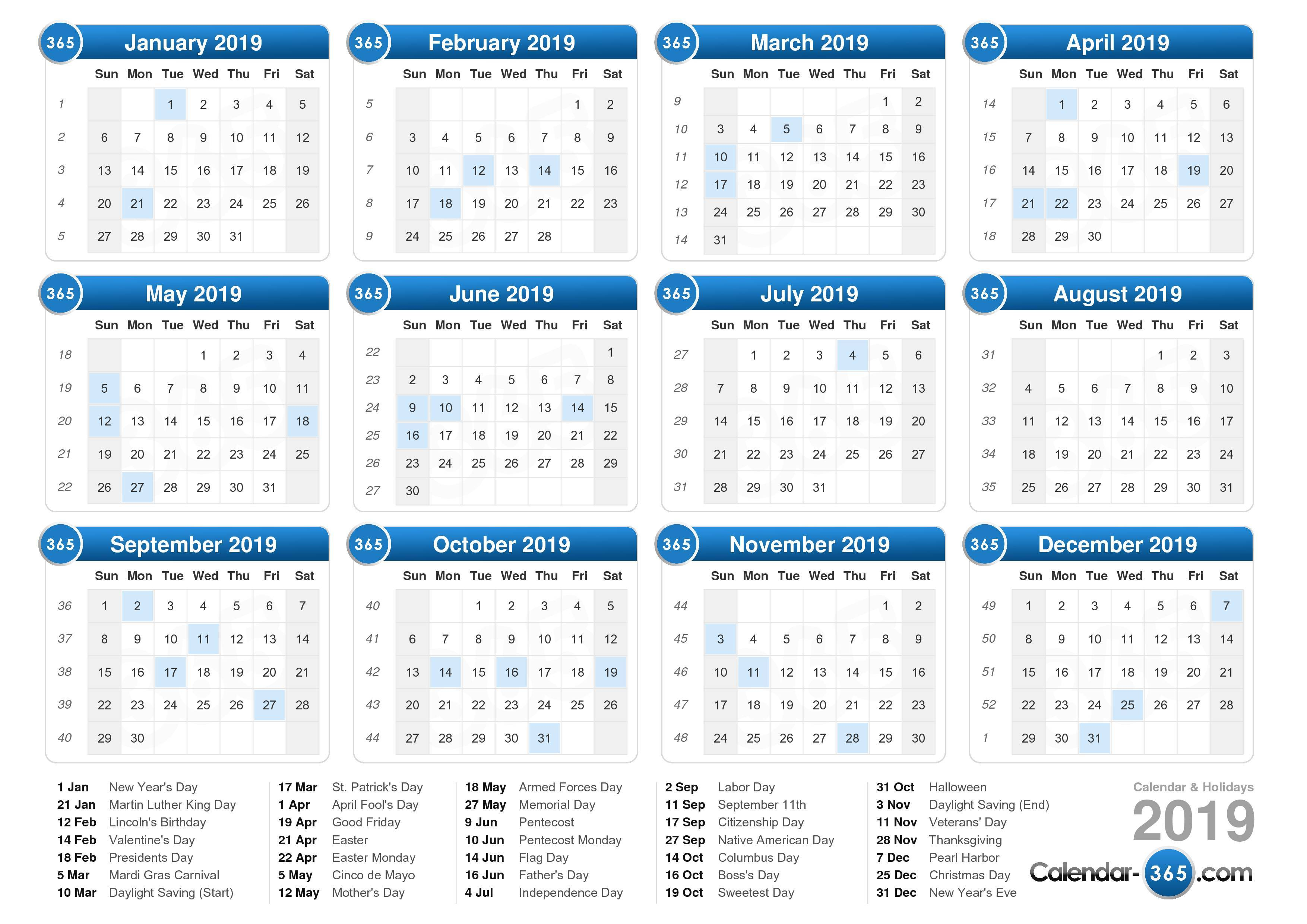 2019 Calendar By Year With