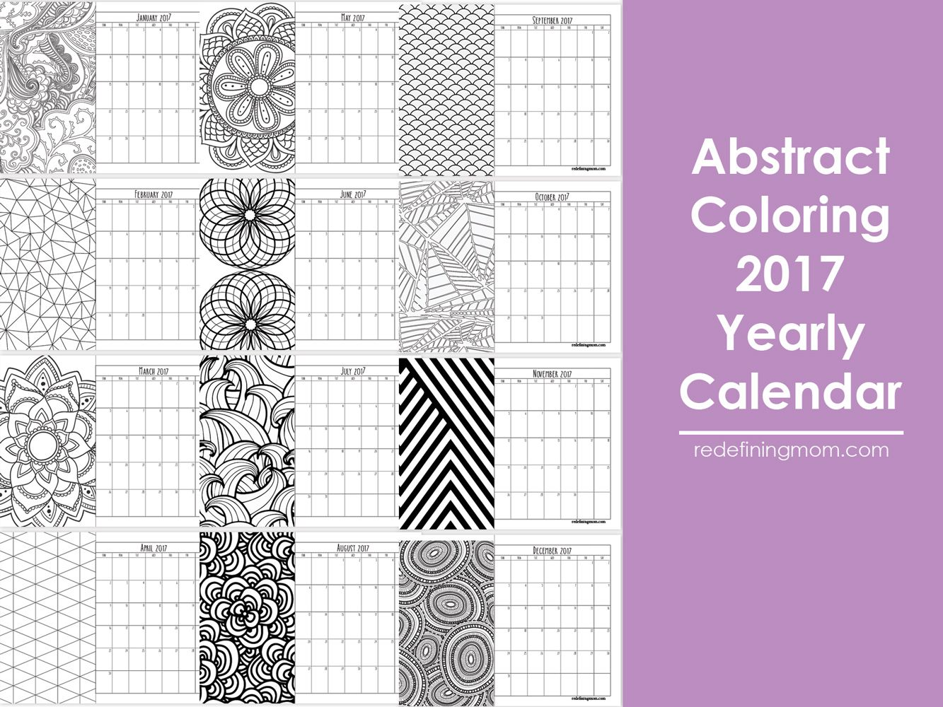 2019 Calendar Coloring Pages With Abstract Adult 2017 Free Printable Redefining Mom