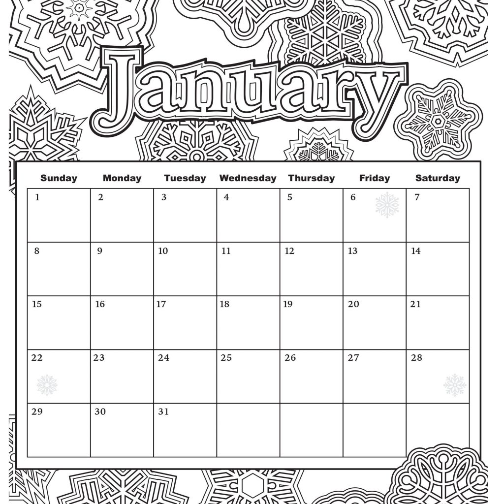 2019 Calendar Coloring Pages With Free Download From Popular Adult Books