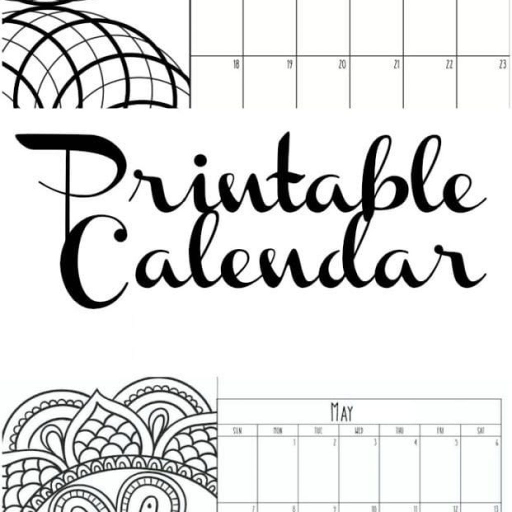 2019 Calendar Coloring Pages With Printable The Typical Mom