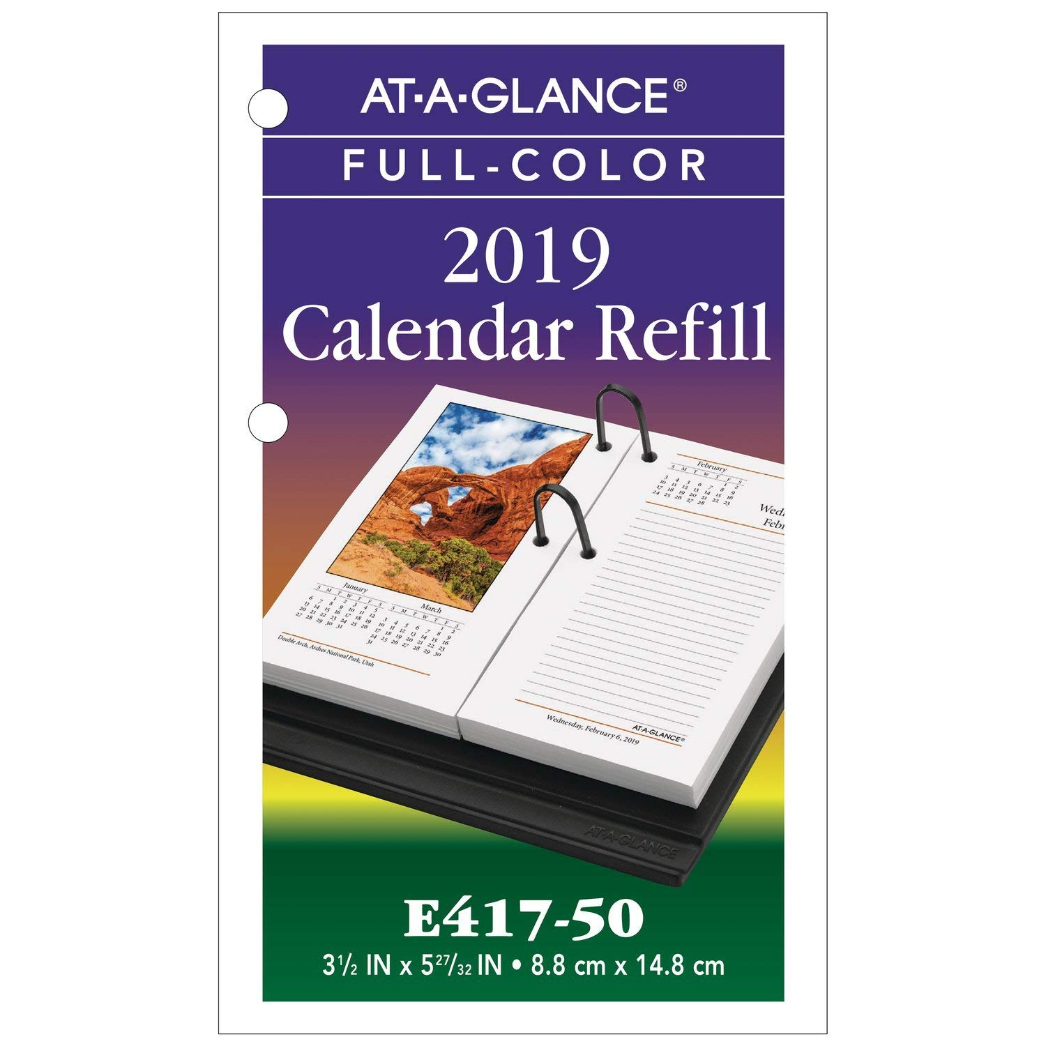2019 Calendar Landscape Year At A Glance In Color With Amazon Com AT GLANCE Desk Refill 3 1 2 X 6