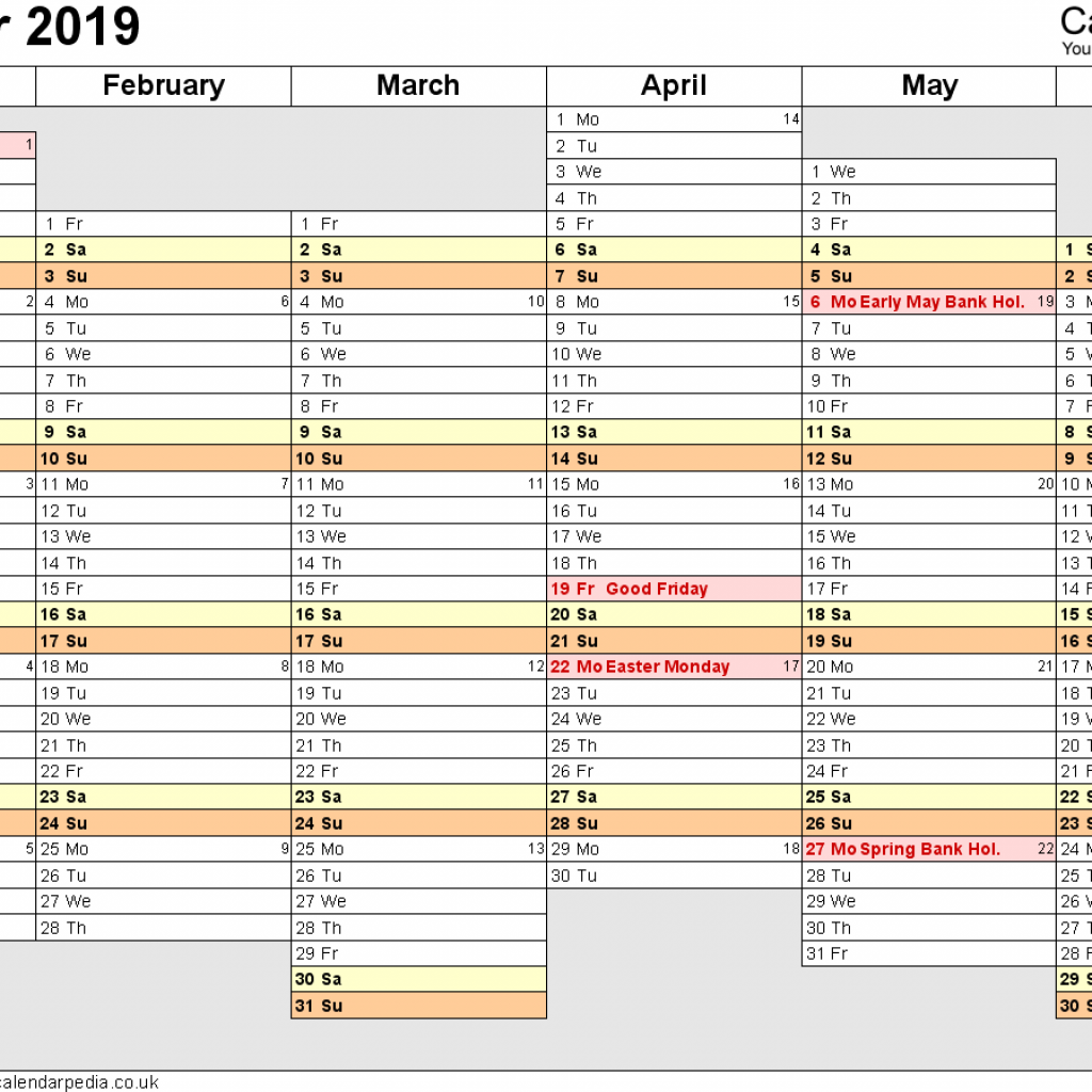 2019 Calendar Landscape Year At A Glance In Color With Excel UK 16 Printable Templates Xlsx Free