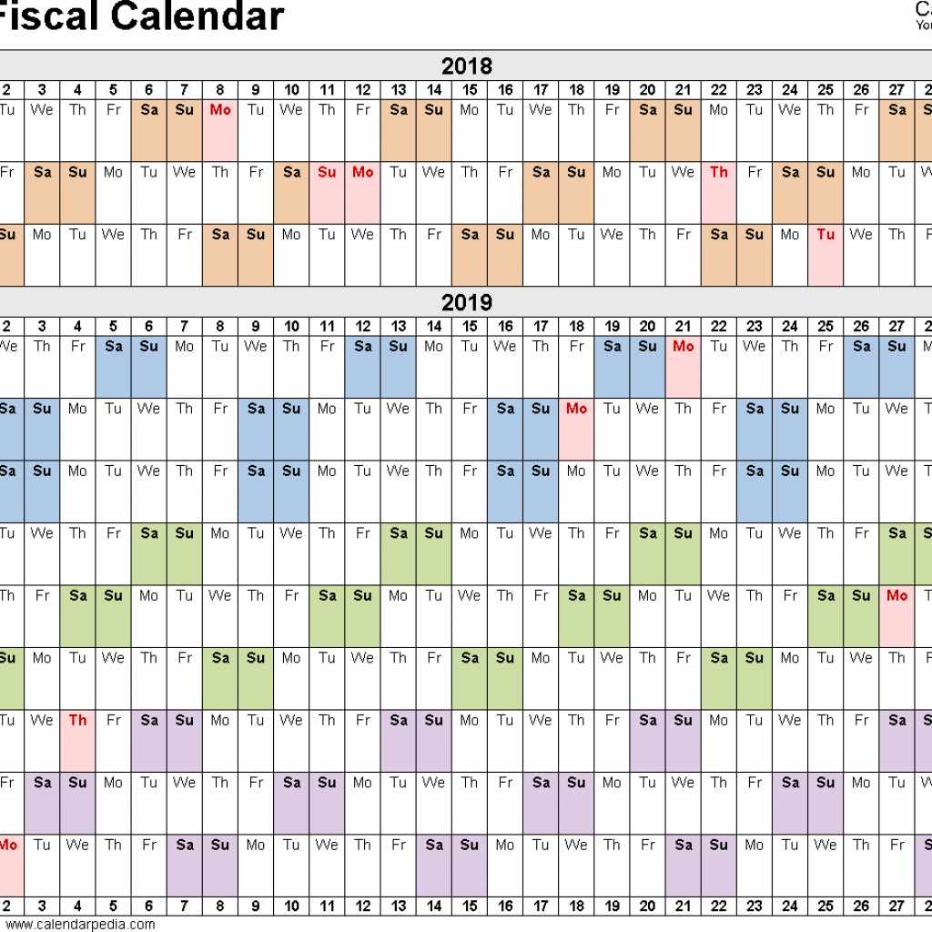 2019 Calendar Landscape Year At A Glance In Color With Fiscal Calendars As Free Printable Excel Templates