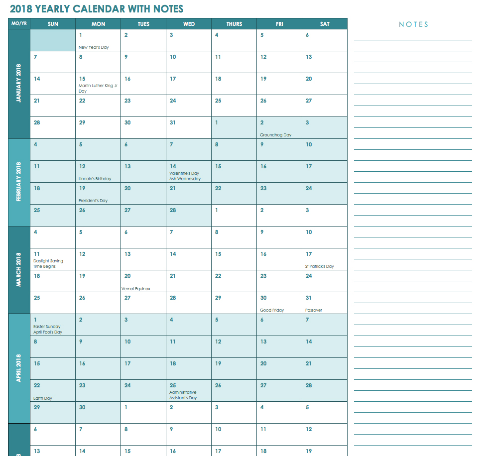 2019 Calendar Landscape Year At A Glance In Color With Free Excel Templates