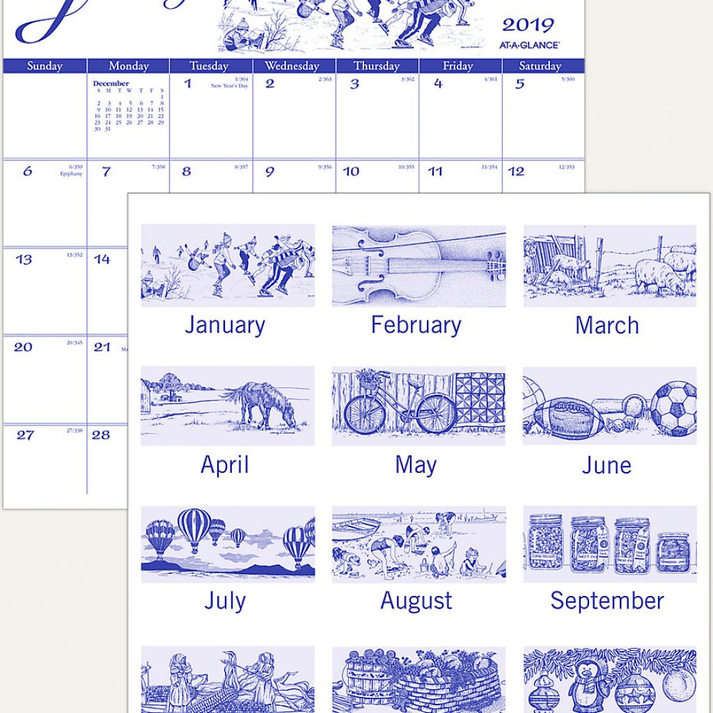 2019 Calendar Landscape Year At A Glance In Color With Illustrators Wall G1000 AT GLANCE