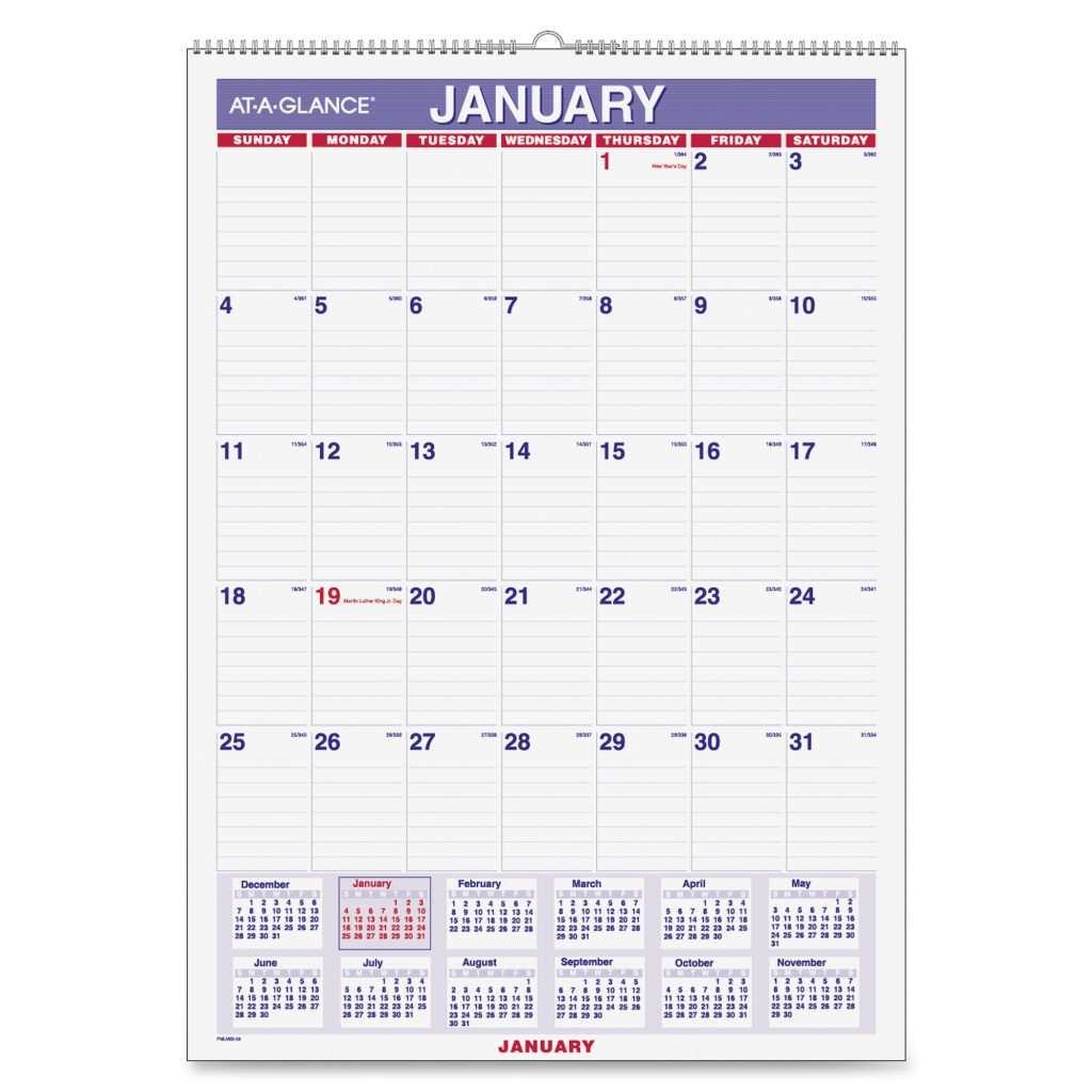2019 Calendar Landscape Year At A Glance In Color With PMLM02 28 Wall