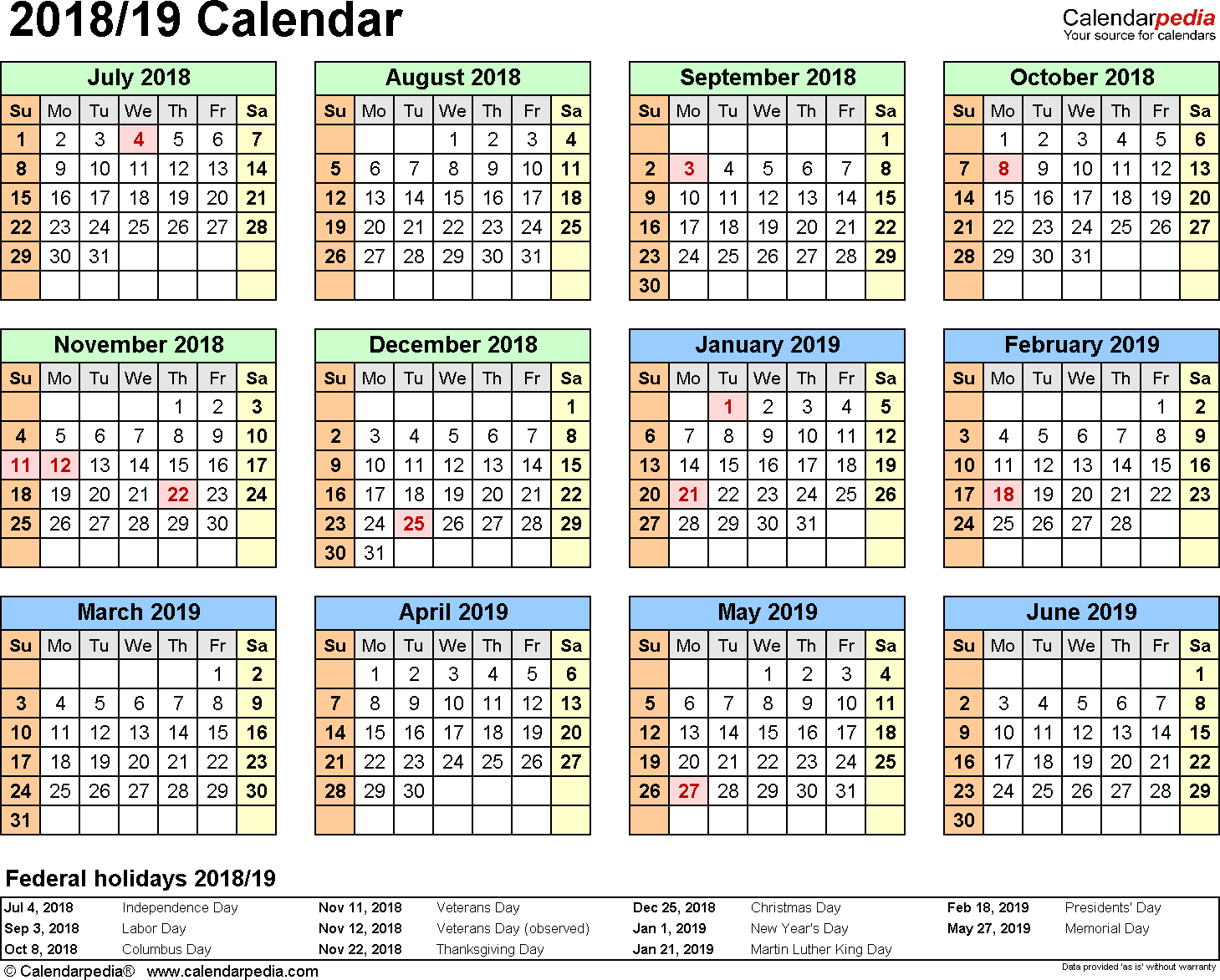 2019 Calendar Landscape Year At A Glance In Color With Split 2018 19 July To June Excel Templates