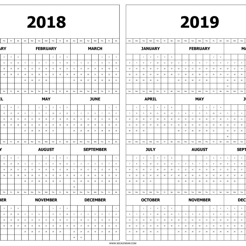 2019 Calendar Year At A Glance Printable With 2018 And