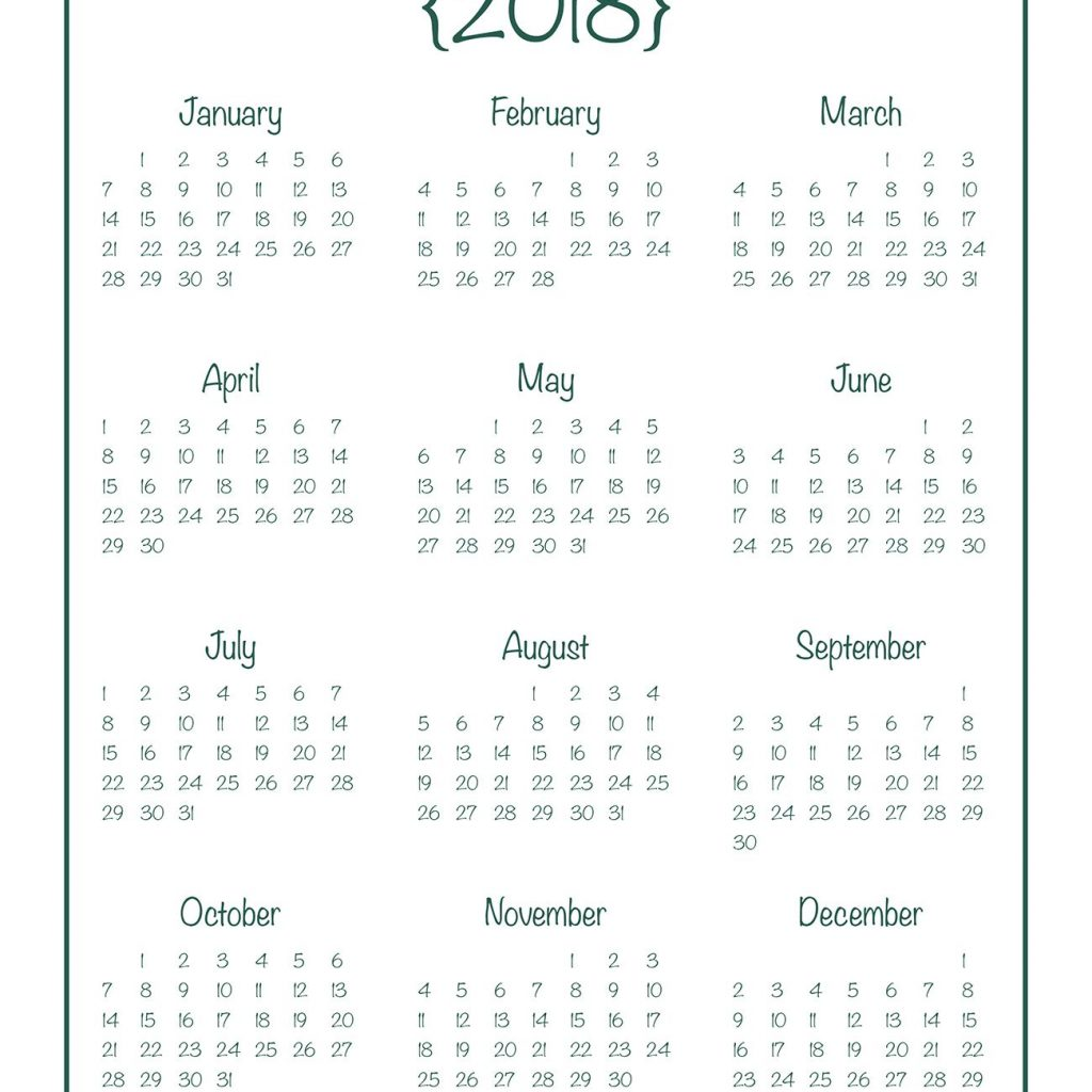 2019 Calendar Year At A Glance Printable With 2018 Free Planner Journal