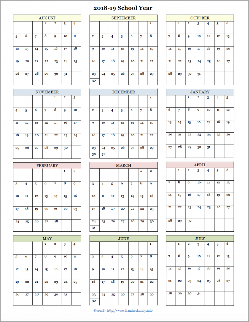 2019 Calendar Year At A Glance Printable With Academic Calendars For 2018 19 School Free