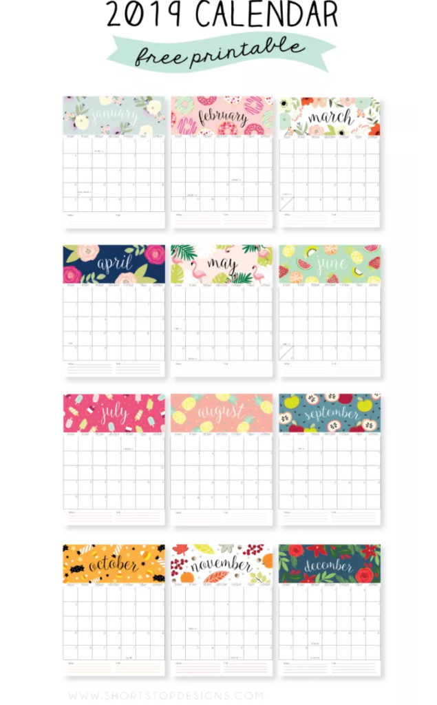 2019 Calendar Year At A Glance Printable With Free Calendars Create Home Storage