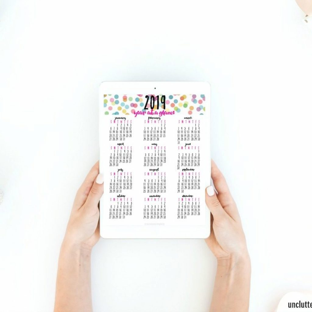 2019 Calendar Year At A Glance Printable With Free To Plan Your