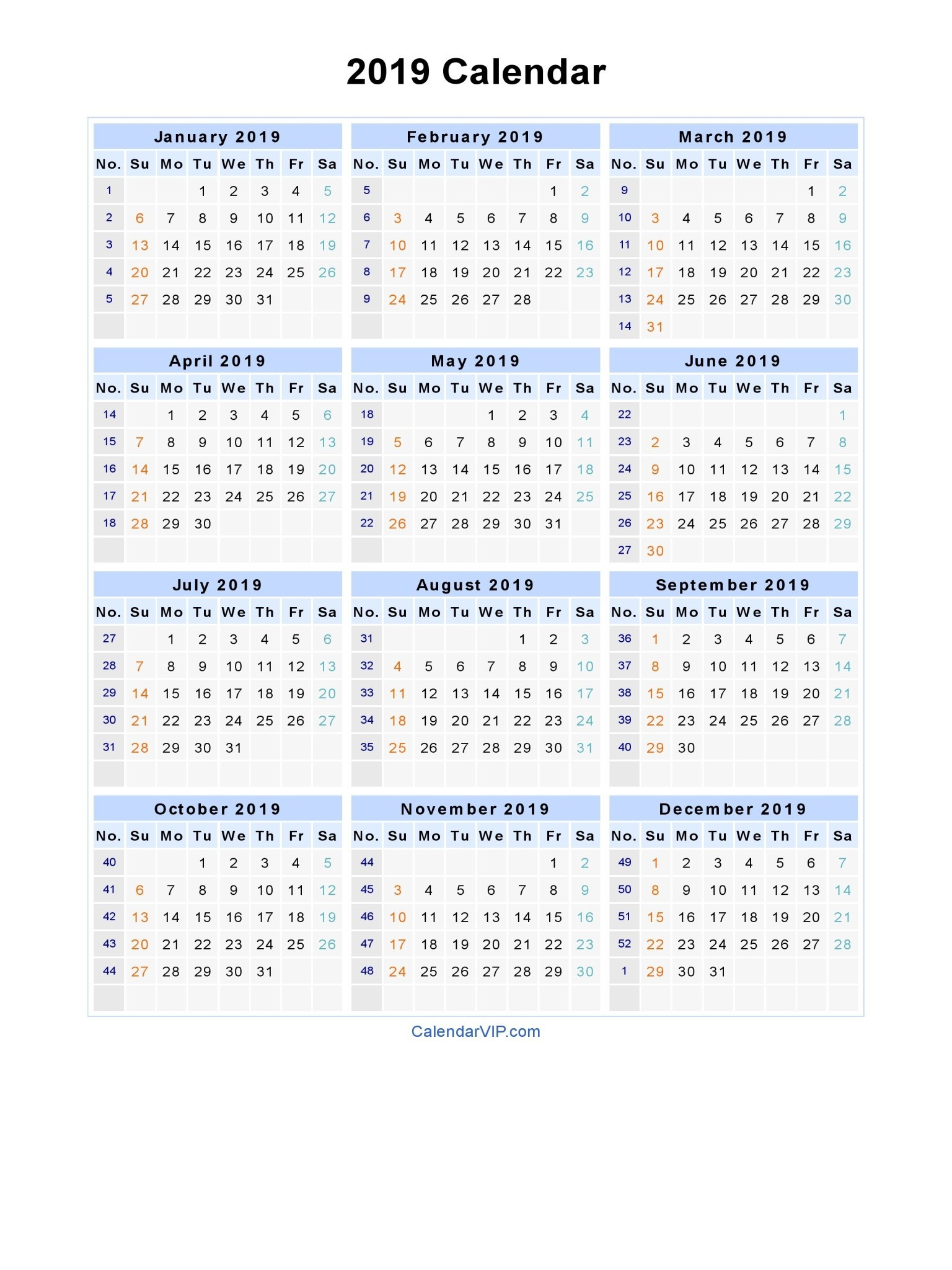 2019 Calendar Year At A Glance Printable With Monthly Canada