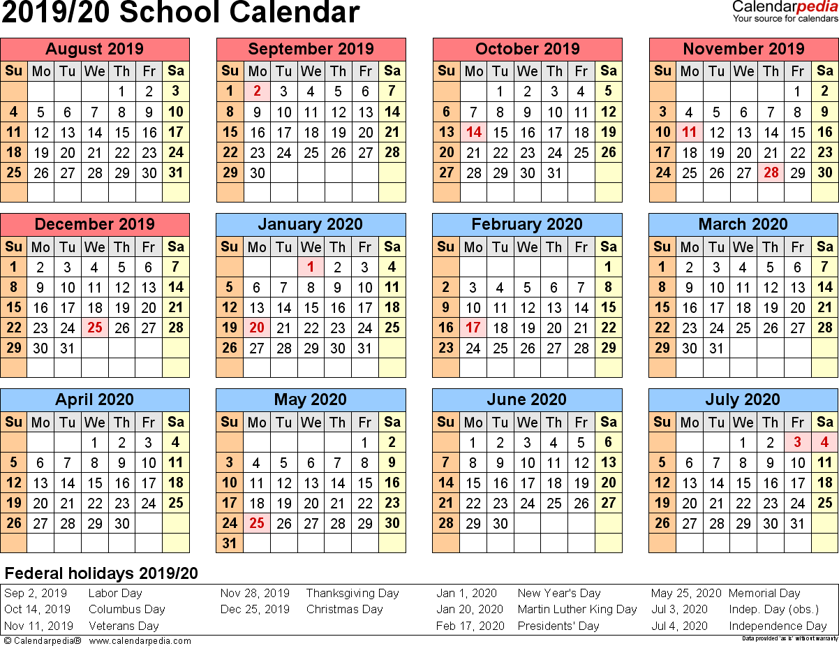 2019 Calendar Year At A Glance Printable With School Calendars 2020 As Free PDF Templates