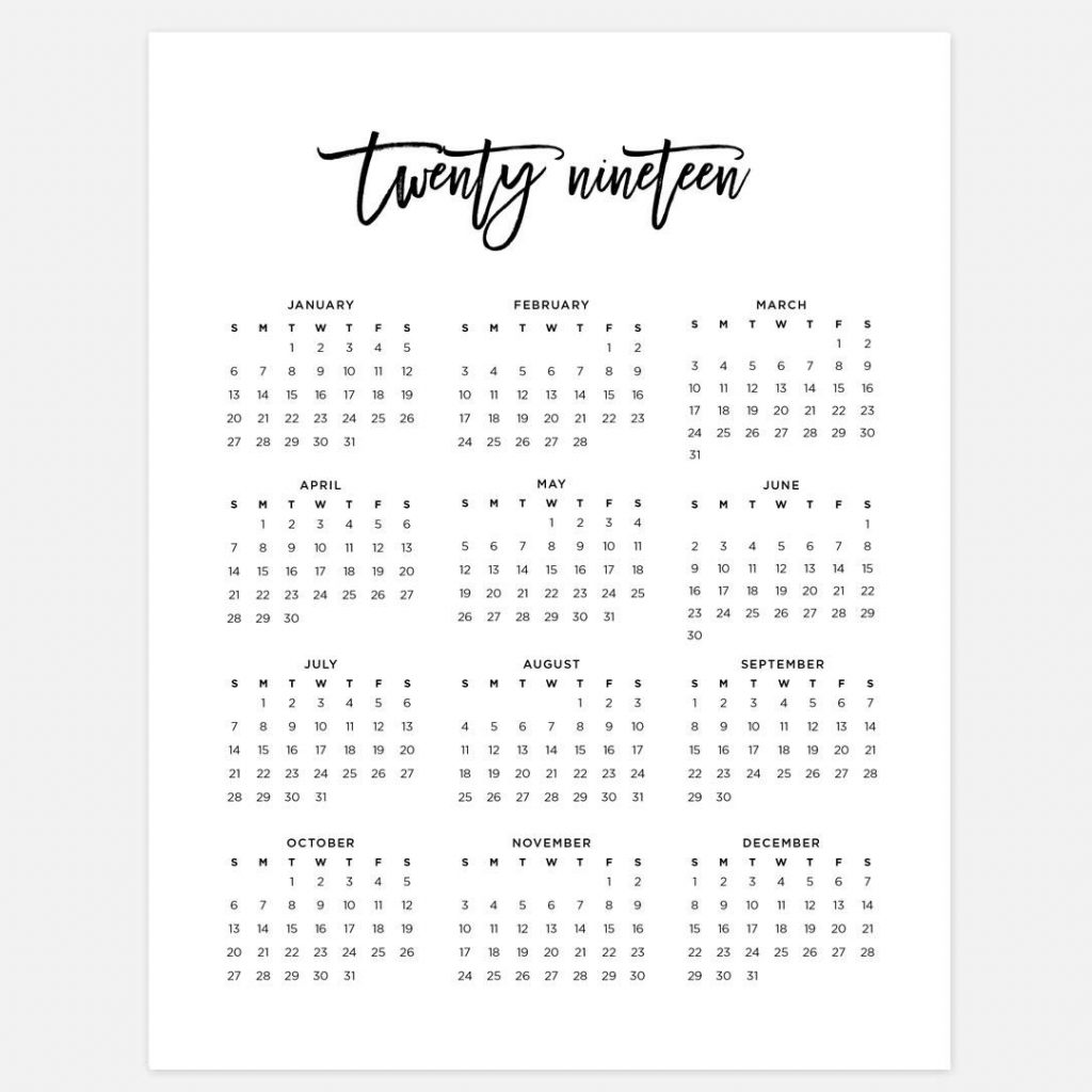2019 Calendar Year At A Glance Printable With Simple Etsy