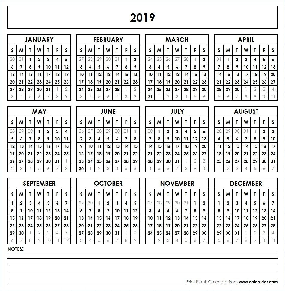 2019 Calendar Year At A Glance Printable With