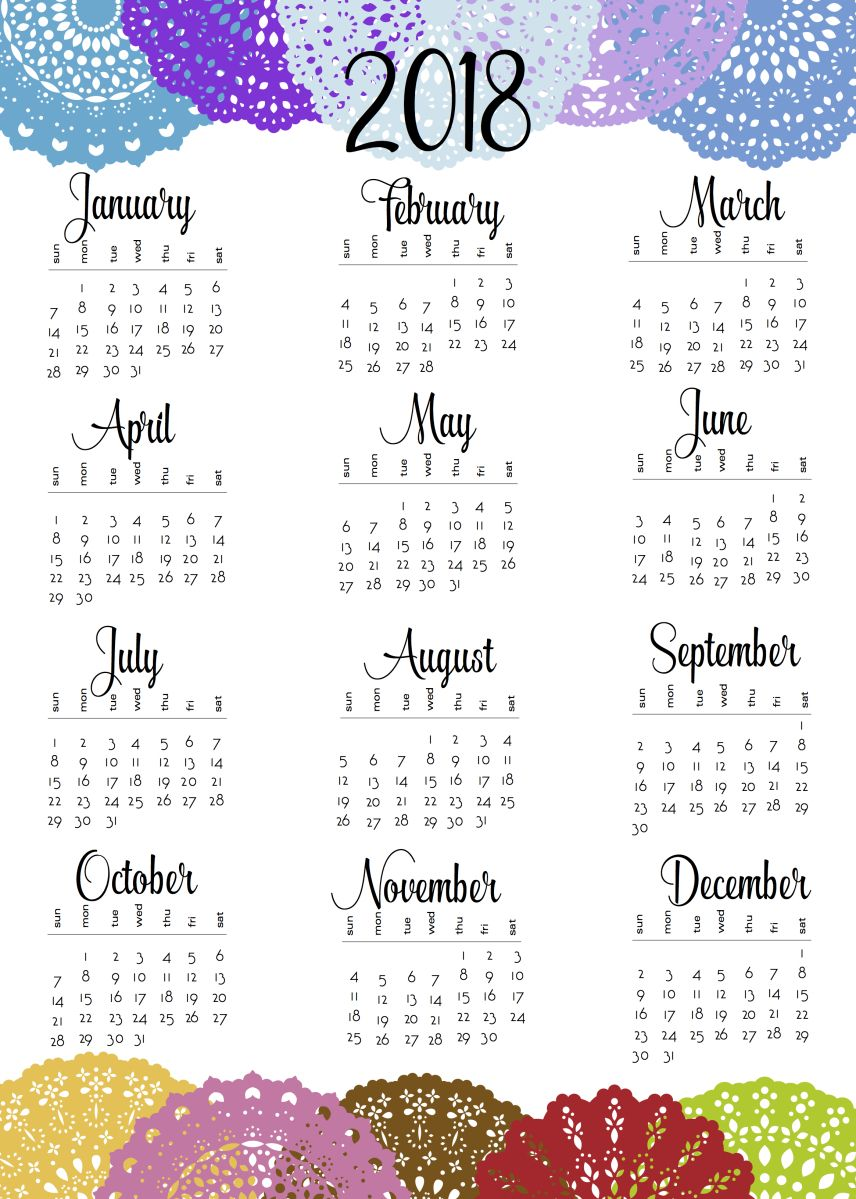2019 Calendar Year At A Glance With 2018 And Doily One Sheets Planners Bullet Journals