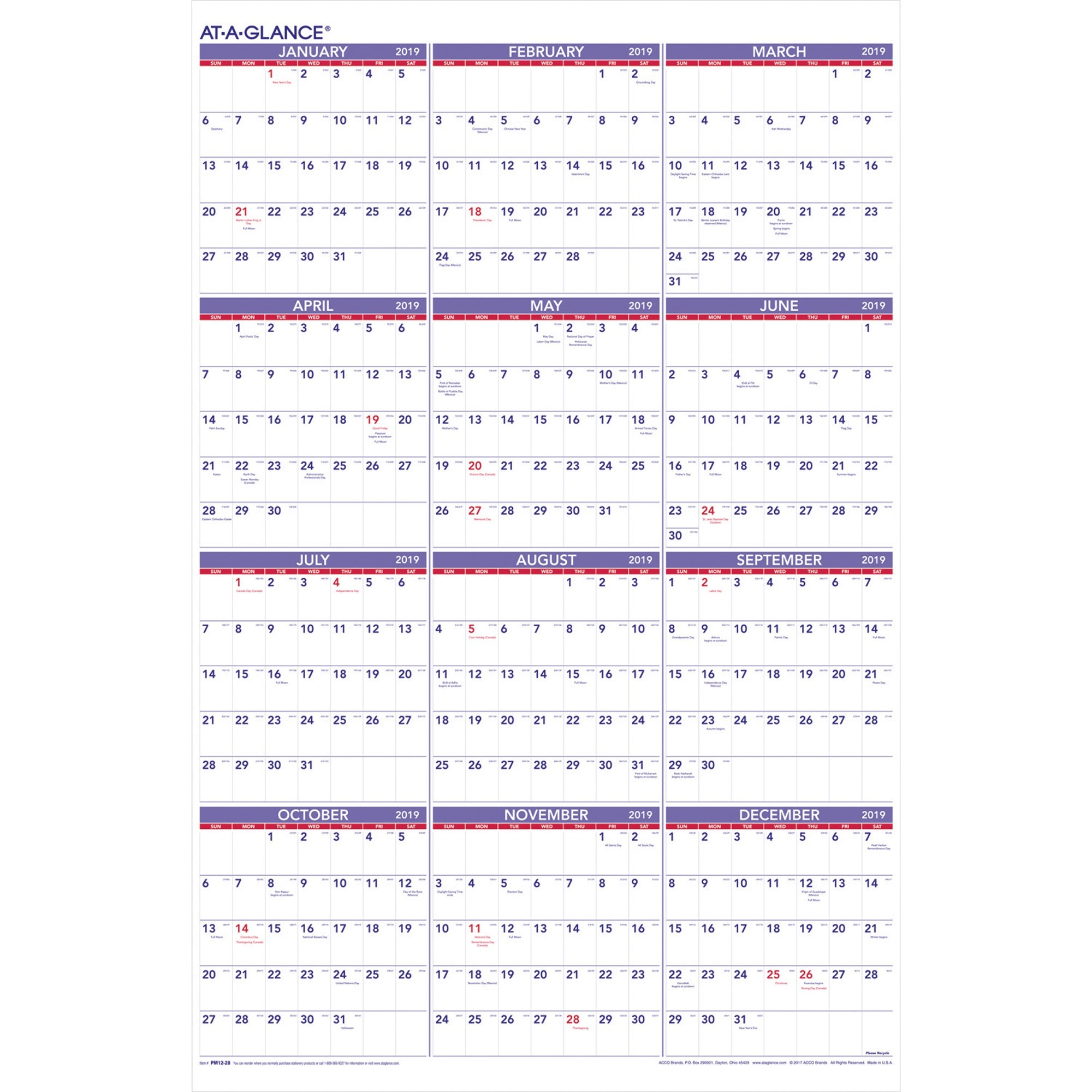 2019 Calendar Year At A Glance With Power Surge Technologies Ltd Office Supplies Calendars