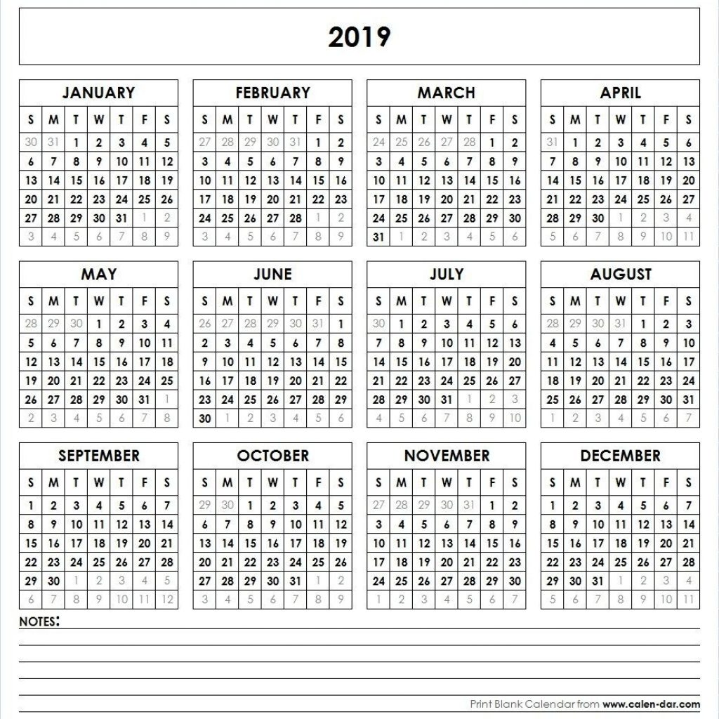 2019 Calendar Year At A Glance With Printable