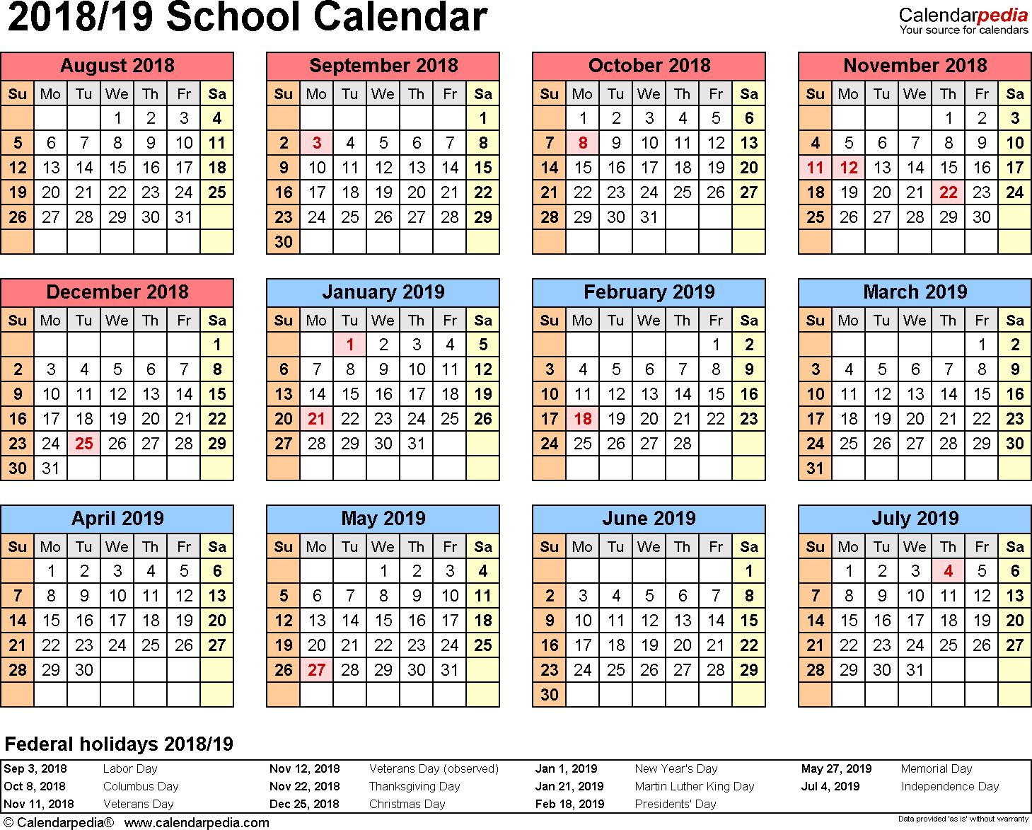 2019 Calendar Year At A Glance With School Calendars 2018 As Free Printable Word Templates