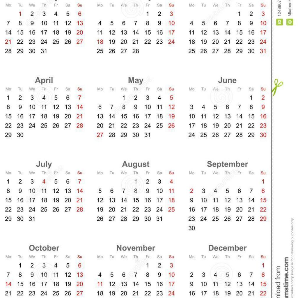 2019 Calendar Year At A Glance With Simple Public Holidays For USA Stock Vector